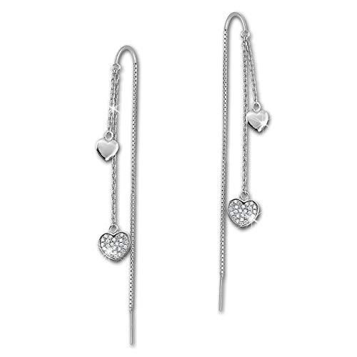 SilberDream Damen-Ohrring Durchzieher Glitzer Herzen Zirkonia weiß 925 Sterling-Silber Ohrhänger GSO439W