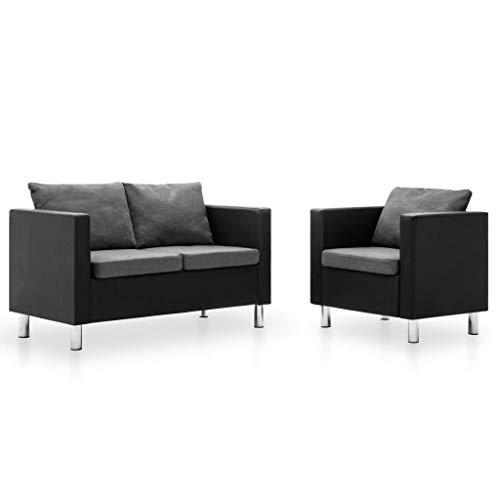vidaXL Sofa 2-TLG. Kunstleder Lounge Ledersofa Sofagarnitur Sessel Polstersofa