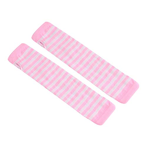 JOYKK Mujeres Niñas Guantes Largos sin Dedos de Punto Rayas Impresas sobre el Codo Invierno Invierno Elástico Brazo Calentador Mangas con Orificio para el Pulgar - 11# Rosa + Blanco