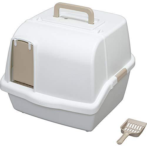 アイリスオーヤマ 猫用トイレ本体 散らかりにくいネコトイレ (スコップ付き フルカバー) ホワイト 大型