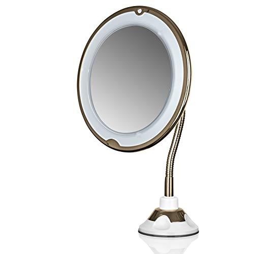 GNTM Germany's Next Topmodel Kosmetikspiegel LED 5X Vergrößerung | Spiegel mit Beleuchtung, Verbiegbarer Schminkspiegel für optimale Ausleuchtung des Gesichts | Mit Saugnapf und 360° schwenkbar