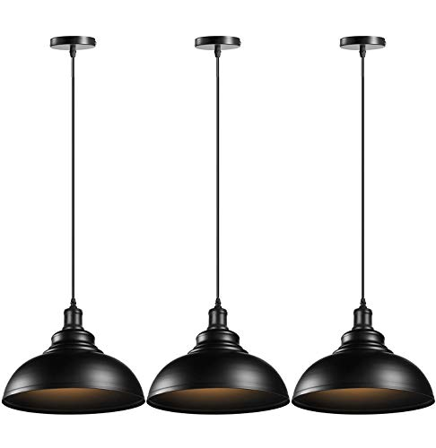 ASCELINA Retro Pendant Light, Industrial Ceiling Lighting Vintage Hanging Light Metal Lamp Shade E27 Base for Restaurant Kitchen Dinning Room Cafe Loft (Black, 3 Pack)