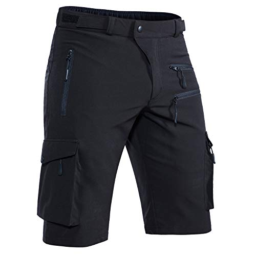 "Hiauspor Men's Mountain Bike Shorts Stretch MTB Shorts Quick Dry with Zipper Pockets (Black, XL (Waist: 34-36"" Hip: 38.5-40.5""))"