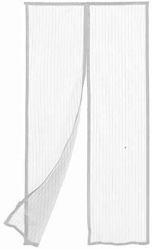 Zanzariera magnetica a tenda per Porte Balconi Finestre con calamita con Cuciture Rinforzate (Bianco, 140x240cm)