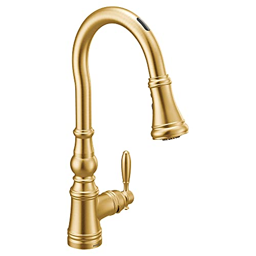 Moen S73004EVBG Weymouth U by Moen Smart Pulldown Kitchen Faucet with Voice Control and MotionSense, Brushed Gold