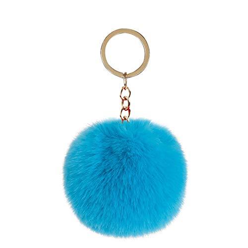 ZIYUYANG llavero, 8 cm bola de felpa artificial piel de conejo llavero animal bolso de coche llavero 14