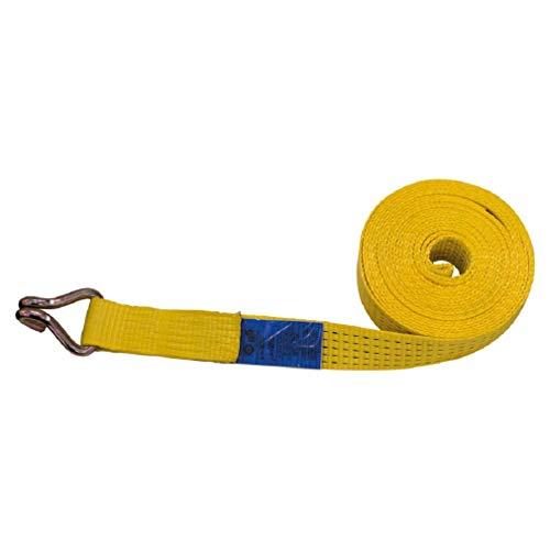 Petex 43193619 Spanngurt ohne Ratsche 1-teilig, 9,6 m, 50 mm, 2500/5000 daN, Doppelspitzhaken, gelb