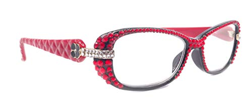 Glamour Quilted, (Bling) Women Reading Glasses Adorned W (Full Top) (Light Siam) SWAROVSKI Crystals (Black, Red) +1.25 +3.50 NY Fifth Avenue