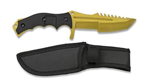 Huntsman Elite Knife - Hunting Knives - Campingmesser - Outdoor - Gold Skin - goldenes Messer Gürtelmesser - festehende Klinge - Fulltang