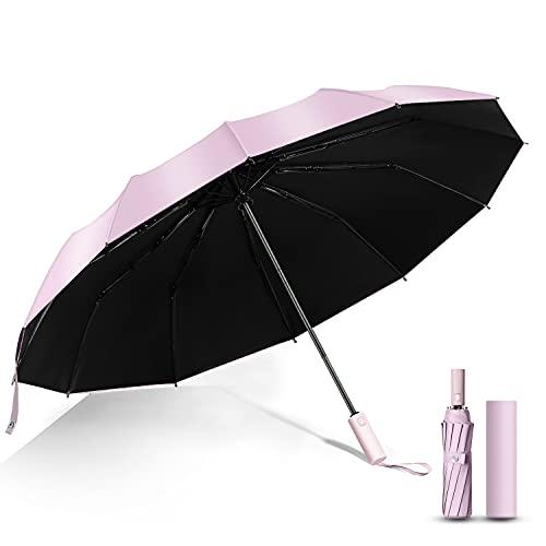 beURchef 折りたたみ傘 自動開閉 ワンタッチ 12本骨 メンズ傘 大きいメンズ レディース 梅雨対策 台風対応 晴雨兼用 収納ポーチ付き ピンク
