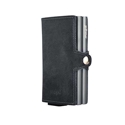 mogdi Duo Black Premium Herren Portmonee RFID Schutz Kartenetui Business Geldbörse feinstes A++ Echtleder Wallet Geldbeutel (anthrazit)