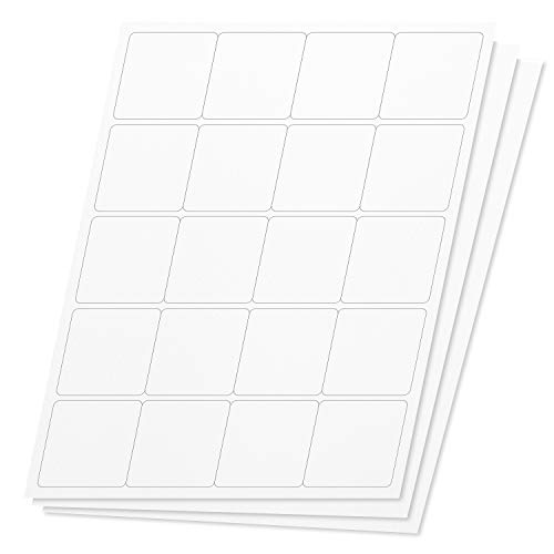OfficeSmartLabels Square 2 x 2 inch Labels for Laser & Inkjet Printers 2 x 2 inch, 20 Per Sheet, White, 3000 Labels, 150 Sheets