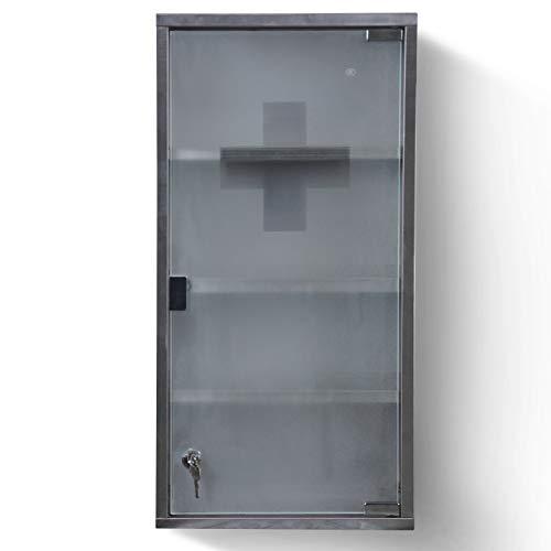 Medizinschrank - abschließbar, 4 Fächer, Stahl, Glas, Tür, 30x60x12cm, Silber - Medikamentenschrank, Arzneischrank, Erste Hilfe Schrank, Hausapotheke, Apothekerschrank