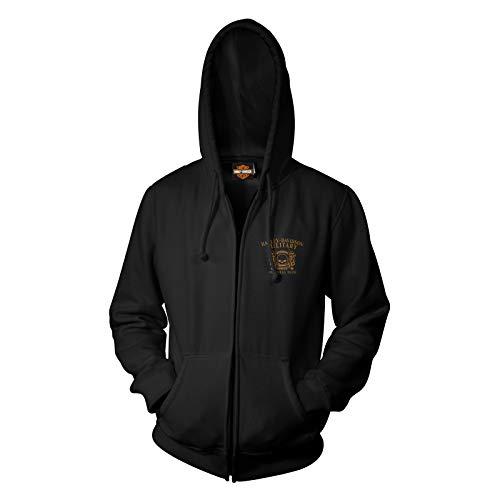 Harley-Davidson Military - Men's Zippered Hoodie - Overseas Tour   Smoking Eyes Large Black