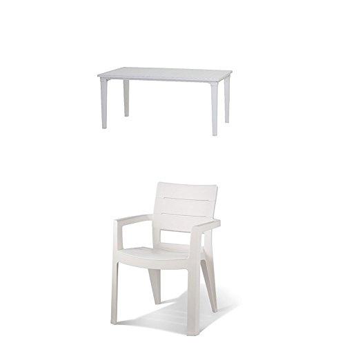 Keter - Set de mobiliario Futura (mesa + 4 sillas), color blanco