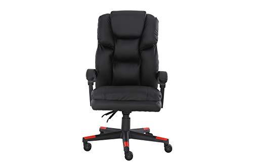 Silla de oficina reclinable, silla de ordenador, silla de escritorio, silla giratoria con brazo y rueda, negro (negro)