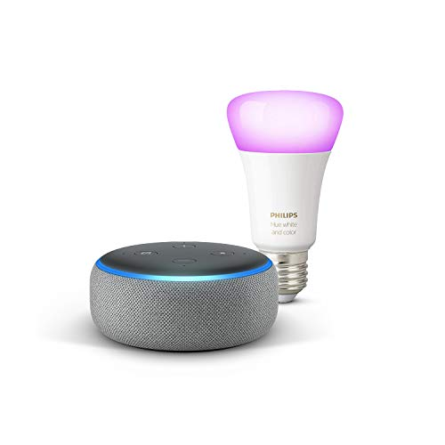 Echo Dot (3ª gen) - Tessuto grigio mélange + Lampadine intelligenti a LED Philips Hue Color, compatibili con Bluetooth e Zigbee (non è necessario un hub), compatibile con Alexa