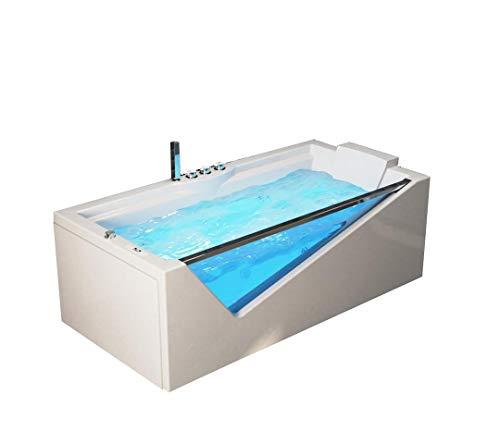 Supply24 Designer Whirlpool Badewanne Rimini mit 14 Massage Düsen + Glas/Glasfront + LED + Heizung + Ozon für Eckmontage rechts + Links + freistehend an nur 1 Wand Hot Tub Spa für 2 Personen