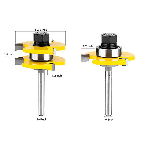 KOWOOD Tongue and Groove Set of 2 Pieces 1/4 Inch Shank Router Bit Set 3 Teeth Adjustable T Shape Wood Milling Cutter