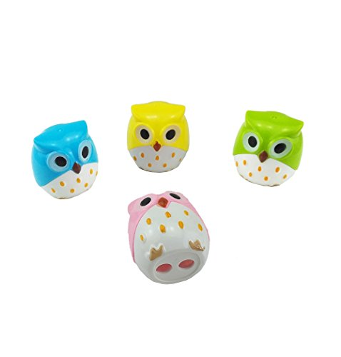 yueton Pack of 4 Cute Cartoon Animal Owl Pattern Double Holes Pencil Sharpeners Creative Stationery School Prize for Kids