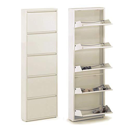 Unbekannt Zapatero con 5 compartimentos, metal, color crema, 171 cm