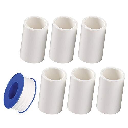 YOFASEN 6 piezas Conectores Recto de Tubo PVC - Conectores de Tubería de Suministro de Agua a Presión, 20mm, Blanco - Accesorios de Herramientas de Plomería con 1 piezas Cinta de fontanería