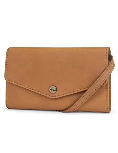 Timberland Damen RFID Leather Wallet Phone Bag with Detachable Crossbody Strap Leder-Umhängetasche mit abnehmbarem Schulterriemen, Weizen (Nubuck), Einheitsgröße