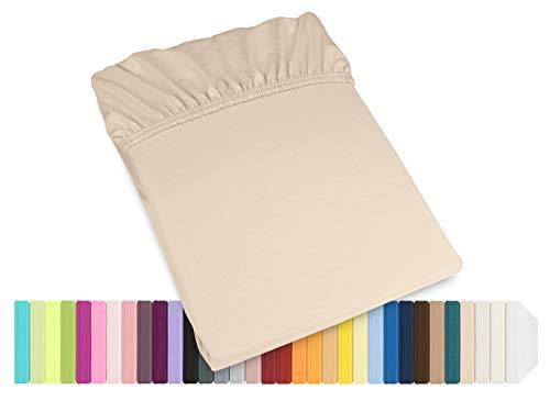 Schlafgut Mako Jersey Spannbetttuch 15001 oder Kissenbezug 15101 - Baumwolle 406.463, beige, Spannbetttuch 90-100 x 200 cm