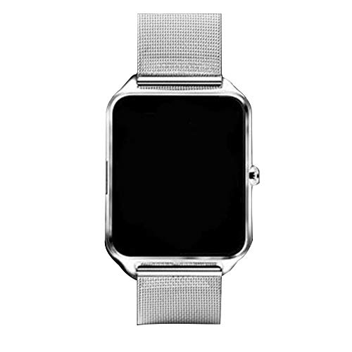 CVBN El reloj inteligente Z60 es compatible con relojes inteligentes Ios System para hombres y mujeres y soporta tarjetas SIM/TF, correas de acero inoxidable, relojes deportivos podómetro y plata.