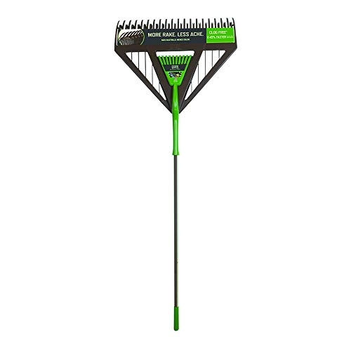 AMES 2714000 2-in-1 Dual-Tine Poly Leaf Rake with Comfort Grip, 71-Inch