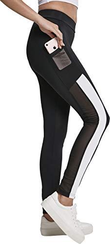 Urban Classics Ladies Tech Mesh Striped Pocket Leggings, Black/White, Größe S
