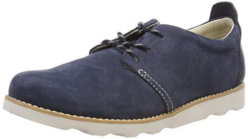 Clarks Jungen Crown Park K Sneaker, Blau (Navy Leather), 30 EU