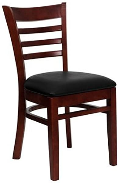 Mahogany Ladder Back Restaurant Chair With Black Vinyl Cushion