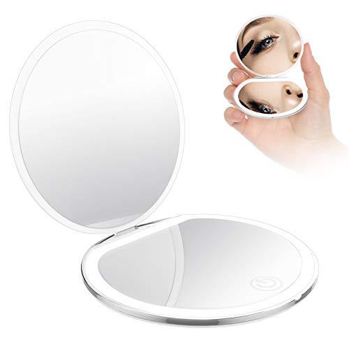 BENMA Tragbarer Taschenspiegel Mini Make-up-Spiegel mit LED Beleuchtung 1X / 5X Vergrößerung Zweiseitiger Schminkspiegel Klappbarer Φ8cm Reisespiegel Beleuchtet für Kosmetik Unterwegs (Weiß)