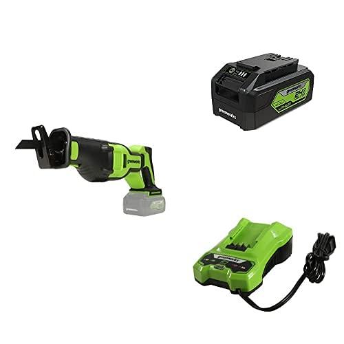 Greenworks 24V Brushless Reciprocating Saw,24V Battery Charger,24V 4Ah USB Battery