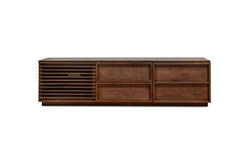 Landelijk tv meubel jake - Massief hout, Afwijkend product, 100% houten product, Eikenhout | Een grote TV-kast met opengewerkte deuren - Notebruin (L180 x H50 x P47 cm)