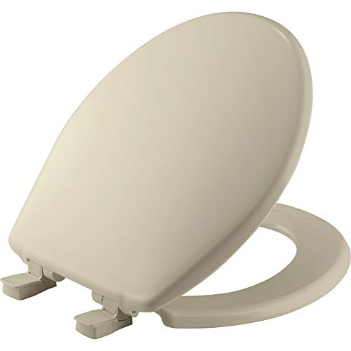 BEMIS 730SLEC 006 Toilet Seat will Slow Close and Removes Easy for Cleaning, ROUND, Plastic, Bone
