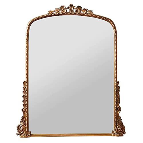 caiyuankai Espejo de tocador Tallado Vintage, Espejo de Entrada de Estilo Europeo, Espejo Colgante para Chimenea de Pared, Espejo de Cuerpo Entero de pie, Espejo para decoración de Interiores