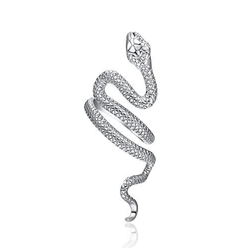 Anillo de serpiente de plata de ley 925, ajustable, bohemio, serpiente, anillo apilable, punk, para mujeres, hombres, hombres, unisex, joyería de Halloween, plateado,