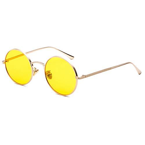 Inlefen Gafas de sol Hombres Mujeres Redondo Vintage Círculo estilo Gafas de sol Gafas de marco de metal de color Gafas amarillo dorado