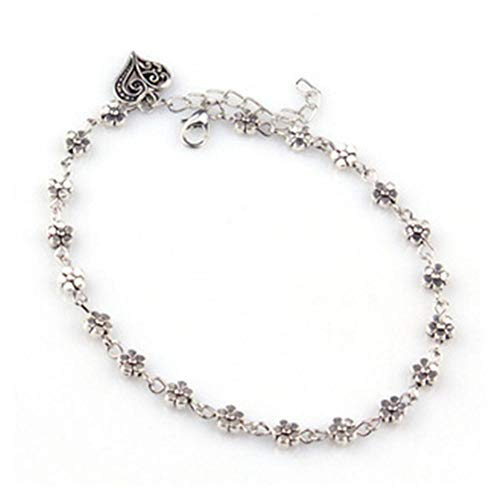 Vvff Heart Shaped Bracelet Anklets Women Alloy Metal Decorated With Small Flower Plum Blossom In Size 24+5Cm