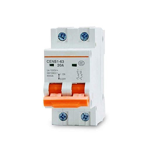 Disyuntor WiFi Excelente rendimiento de limitación de corriente 2P DC 1000V mini disyuntor solar 10A 16A 25A 32A 40A 63A para energía solar global PV-25A_rate_current