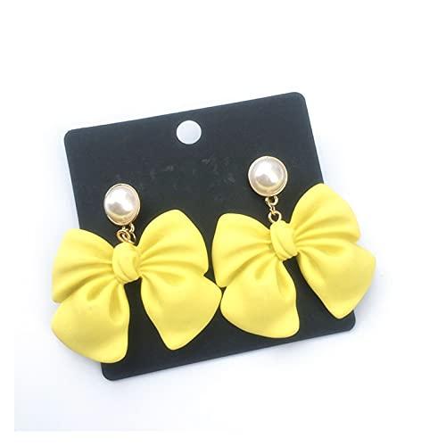 lliang orecchino Fashion Bow Knot a Forma di Grandi Orecchini per Fidanzata Dolce Nero Rosa Resina Arco Orecchini Orecchini Gioielli Partito Accessori per Gioielli (Metal Color : Yellow)