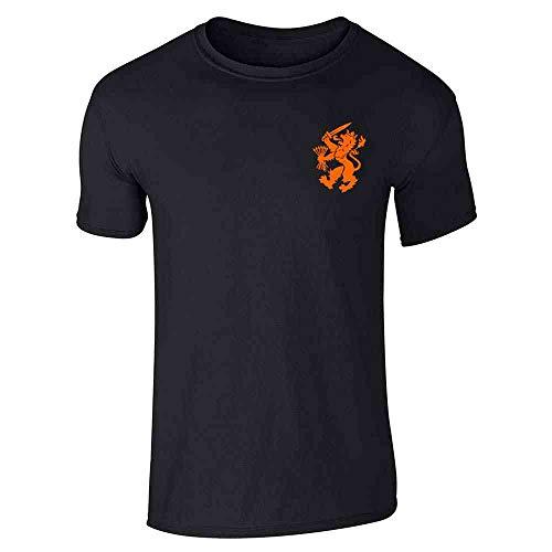 Dutch Soccer Retro National Team Holland Costume Black L Graphic Tee T-Shirt for Men