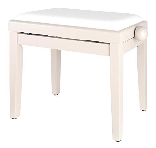 Classic Cantabile Pianobank (höhenverstellbar von 47-56cm, Spindelmechanik, Sitzfläche 55 x 32cm, weißer Velourbezug, stabil) Weißesche matt