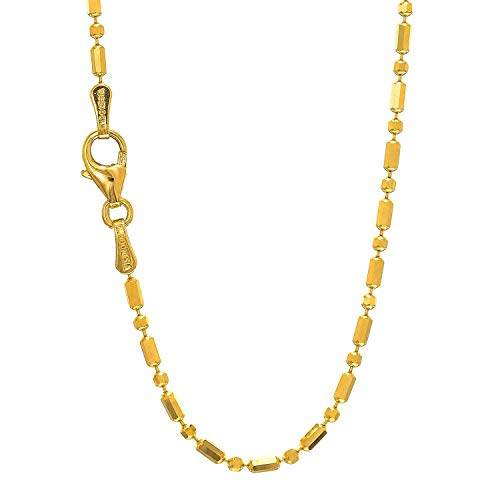 14k Solid Gold Yellow Or White Bead Necklace