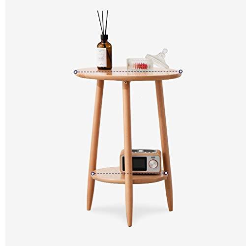 Mesa de centro de doble capa FSAQ para sofá redondo de madera maciza, mesa auxiliar para sala de estar, teléfono, mesa de café, varios creativos y pequeños, duraderos (color: madera)