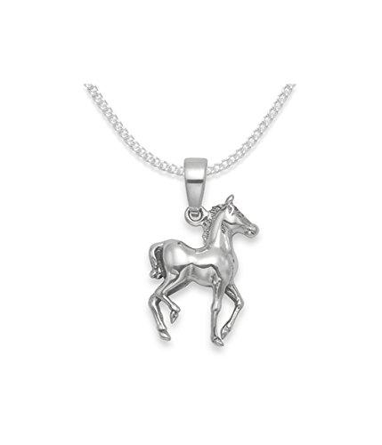 Sterling Silber Kinder Pferd Anhänger auf 37cm Silberkette. Herzen Geschenk Box & geschenk tag