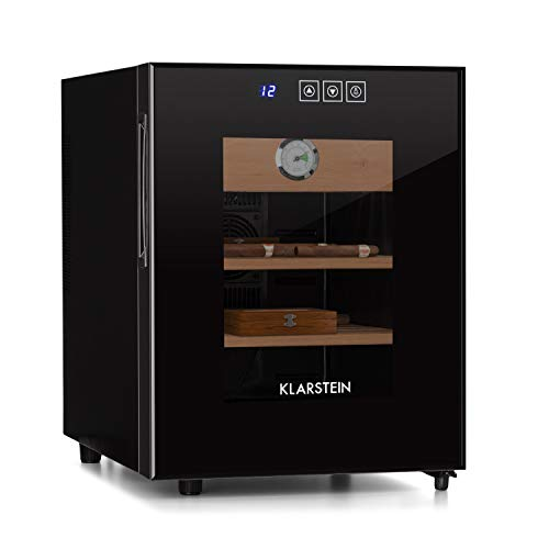Klarstein EL Presidente - Zigarren-Humidor - thermoelektrisch, Glastür, freistehend, Einschübe und Schublade aus Zedernholz, Hygrometer, LED-Innenbeleuchtung, 33 L, schwarz