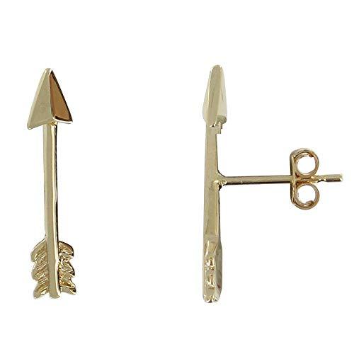 Joyas Les Poulettes - Pendientes Flecha Chapado en Oro